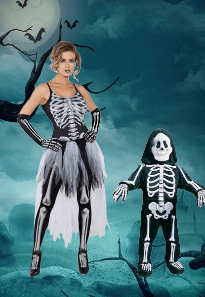 Ladies Skeleton Costume & Toddler Skeleton Costume